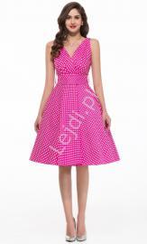 Różowa rozkloszowana sukienka w kropki | sukienka pin up na wesele 6295-3 - Lejdi