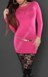Różowa sukienka z dzianiny z haftem na tiulu na dekolcie, 809 - Lejdi