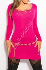 Różowa sukienka z paskami z tyłu i imitacja kołnierzyka, 8031 - Lejdi