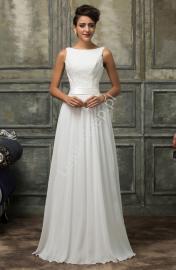 Skromna suknia ślubna z gipiurową koronką | białe sukienki z koronką - Lejdi