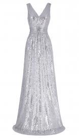 Srebrna cekinowa długa suknia wieczorowa | suknie na karnawał - Lejdi