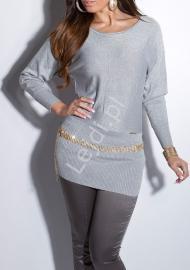 Srebrny sweter nietoperz ze srebrną nicią, zdobiony łańcuszkami | tunika wełniana z jedwabiem- 161 - Lejdi