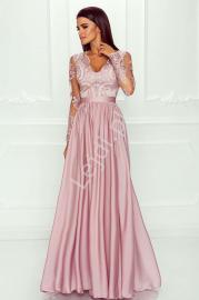 Sukienka dla druhny, na wesele, suknia wieczorowa z rozcięciem - Luna, pudrowy róż - Lejdi