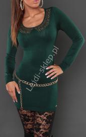 Sukienka dzianinowa z ozdobna imitacją kołnierzyka, butelkowa zieleń 8058 - Lejdi