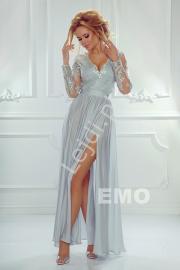 Sukienka na wesele, studniówkę   srebrna suknia wieczorowa Luna - Lejdi