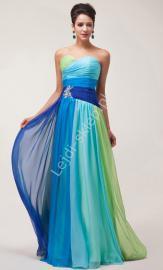 Sukienka wieczorowa w odcieniach niebiesko zielonych| sukienki wieczorowe - Lejdi