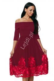 Sukienka z gipiurową koronką z dekoltem typu carmen - ciemne wino 364 - Lejdi