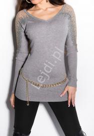 Sweter damski z gipiurową koronką oraz cyrkoniami | sweter młodzieżowy- szary