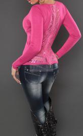 Sweter koronkowe plecy, fuksja - Lejdi