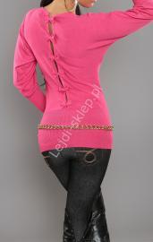 Sweter nietoperz z kokardkami na plecach, fuksja | swetry damskie - Lejdi