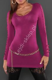 Sweter | tunika z koronka i kokardkami na rękawach, fuksja 8061 - Lejdi