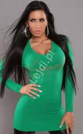 Sweter w kolorze soczystej zieleni z dżetami 028 - Lejdi
