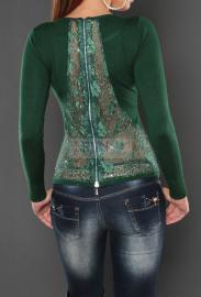 Sweter z koronką na plecach, butelkowa zieleń - Lejdi