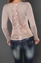 Sweter z koronką na plecach, beż - Lejdi