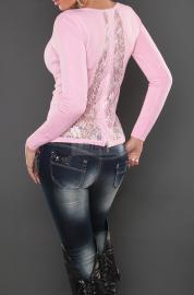 Sweter z koronka na plecach i cyrkoniami - Lejdi