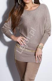 Sweterek nietoperz z łańcuszkami | tunika wełniana z jedwabiem w kolorze kawy z mlekiem i złotą nicią - 161 - Lejdi