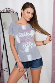 Szara bluzka damska z napisami i nadrukami - Lejdi