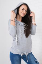 Szara damska bluza kangurka z kapturem - Lejdi