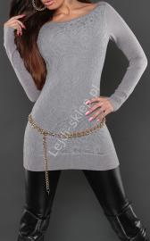 Szara elegancka tunika z gipiurową wyrazistą koronką z przodu | gipiurowe wizytowe tuniki, 8069