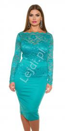 Szmaragdowa elegancka sukienka koronkowa plus size 334p -2 | Sukienki koronkowe duże rozmiary - Lejdi