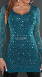 Szmaragdowa tunika z koronkowymi rękawami | tuniki damskie - Lejdi