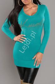 Szmaragdowy dzianinowy sweter z dżetami 028 - Lejdi