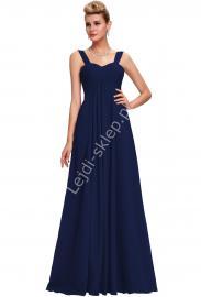 Szyfonowa skromna granatowa suknia wieczorowa z drapowanym dekoltem | granatowa klasyczna sukienka - Lejdi