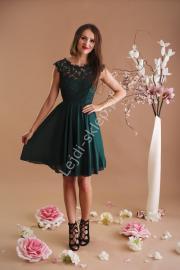 Butelkowo zielona szyfonowa sukienka na wesela, chrzciny, bal gimnazjalny z koronką | sukienki na studniówki 1271 - 1 - Lejdi