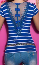 T-shirt w paski z tiulową wstawką na plecach | chabrowa koszulka - Lejdi