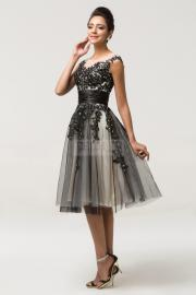 Tiulowa sukienka z gipiurową koronką - Lejdi