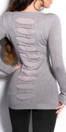 Sweter wełniany z jedwabiem w kolorze szarym | tunika z kryształkami 8185 - Lejdi