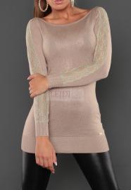Tunika - sukienka dzianinowa z jetami i koronką, beż 8051 - Lejdi