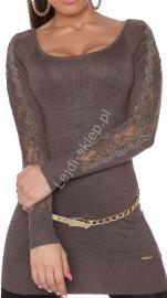 Tunika z dzianiny mokka - sweter z kryształkami | swetry damskie 8077 - Lejdi