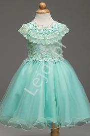 Turkusowa sukienka z koronką dla dziewczynki | sukienki dla dziewczynek - Lejdi