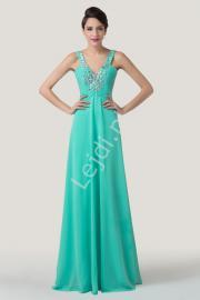Turkusowa wyszczuplająca zwiewna suknia wieczorowa| długie suknie dla druhen, na studniówkę - Lejdi