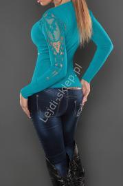 Turkusowy sweter z ozdobnymi rękawami, kaszmir + wełna + sztuczny jedwab - Lejdi