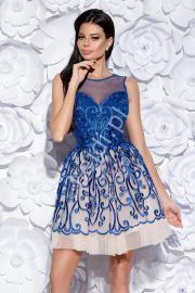 Chabrowa sukienka koktajlowa | krótka rozkloszowana sukienka 2129-05 - Lejdi