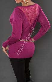 Wizytowa fioletowa wpadająca w róż bluzka dzianinowa / sweter o kroju nietoperza 8055 - Lejdi