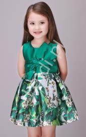 Wizytowa sukienka dla dziewczynki , kwiaty, butelkowa zieleń - Lejdi
