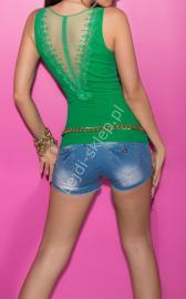 Zielona bokserka z koronka na plecach | zielona bluzka - Lejdi