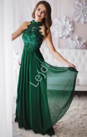 Zielona długa suknia wieczorowa z kwiatami 3D | zielone długie sukienki wieczorowe - Lejdi