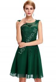 Zielona sukienka na wesele, komunie, połowinki, poprawiny z perłami | zielone sukienki wieczorowe - Lejdi