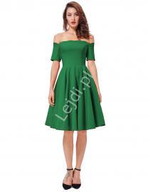 Zielona sukienka pin-up z falistym dekoltem - carmen style - Lejdi