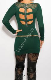Zielona sukienka z paskami z tyłu i imitacją kołnierzyka, 8031 - Lejdi