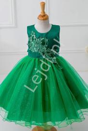 Zielona sukienka z szyfonowym dołem | sukienki dla dziewczynek - Lejdi