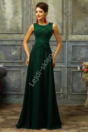 Zielona suknia z perłami | zielone długie sukienki, butelkowa zieleń - Lejdi