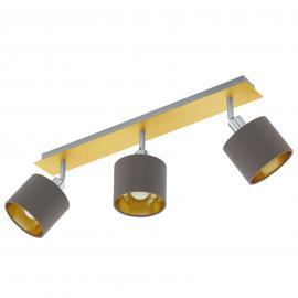 Plafondlamp Valbiano Cappuccino/Gold drie lampjes