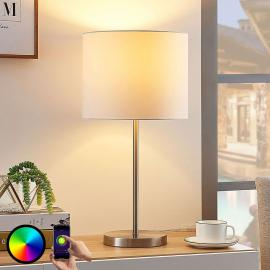 Lindby Smart stoffen tafellamp Everly, RGB-LED