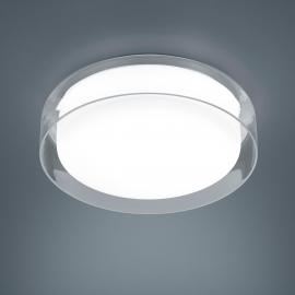Helestra Olvi Deckenleuchte, Ø: 30 cm, Chrom - Innenglas: Opal weiß / Außenglas: klar