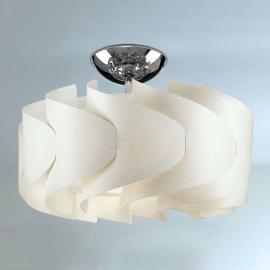 Weiße Deckenleuchte Sky Mini Ellix in Holzoptik